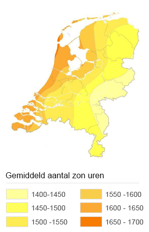 Zonnekaart aantal zonuren Nederland
